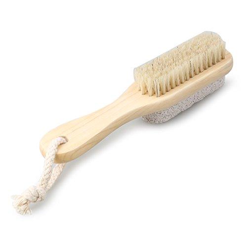 TOPBATHY Natural Boar Bristle Foot File Brush Callus Shaver met houten handvat