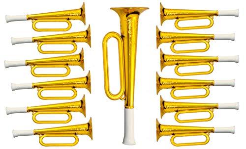 jameitop® 10 X Trompete - Krachmacher Tröte Gold Kinder Horn