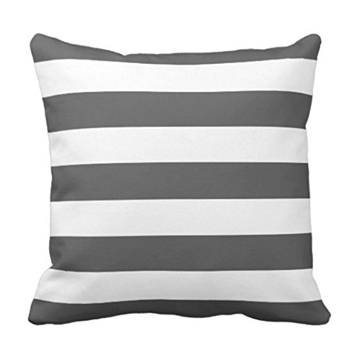 Throw Pillow Cover Stripe Modern Charcoal Grey and White Chic Funda Almohada Decorativa Decoración para el hogar Funda Almohada Cuadrada 18 x 18 Pulgadas