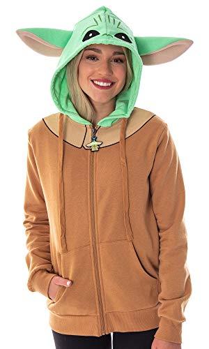 Star Wars Baby Yoda Juniors The Mandalorian The Child Character Costume Zip Hoodie (Large)