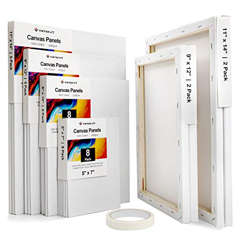 Painting Canvas Panels Multi Pack - 30 Pack 5x7, 8x10, 9x12, 11x14, Triple Primed 100% Cotton Canvas Boards for Painting, Oil, Acrylic, Watercolor, Pouring Paint, Acid-Free for Artists, Painters, Kids