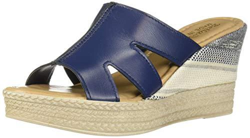 Bella Vita Women's Rox-Italy Slide Sandal Shoe, Navy Italian Leather, 6 2W US