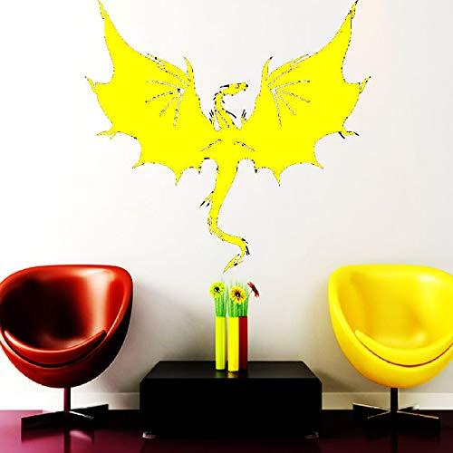 Tier Drachen Wandaufkleber Flügel Monster Indoor Freizeit Aufkleber Kind Kindergarten Junge Zimmer Wandaufkleber Vinyl Gummi Kunst Gelb 57x60cm