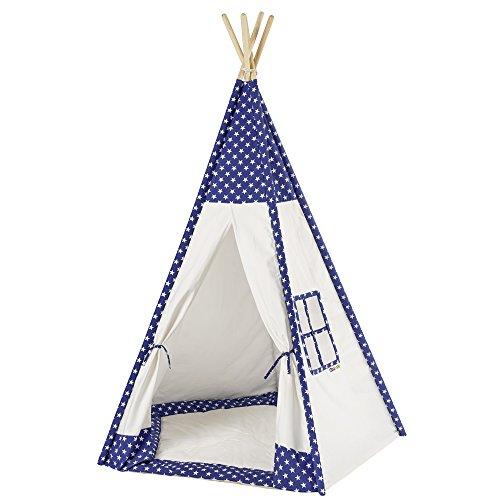 Howa Tipi Zelt Sterne weiß / blau incl. Bodenmatte, 185 hoch