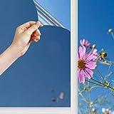 Film Miroir Fenêtre sans Tain 99% Anti-UV Anti Chaleur Anti-Regard Contrôle de la Température Protection de la Vie PrivéeFilm Adhésif pour Fenêtre Maison Bureau Magasin (Argent, 45*400CM)