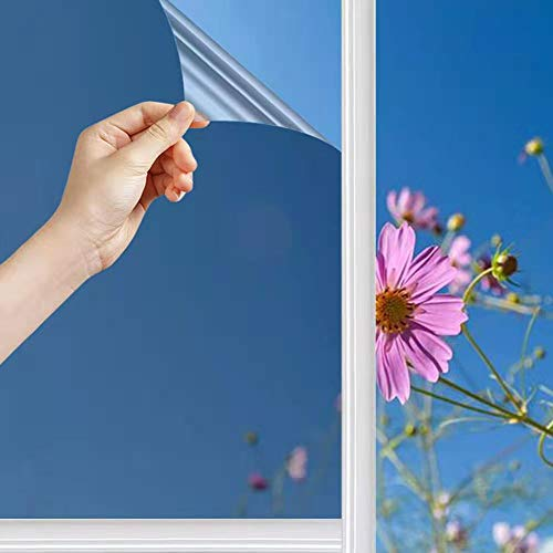 Spiegelfolie Selbstklebend Sonnenschutzfolie Fenster Sichtschutz Reflektierende Fensterfolie Innen Hitzeschutz Wärmeisolierung 99% UV-Schutz Sonnenschutz Tönungsfolie (Argento, 45*200CM)