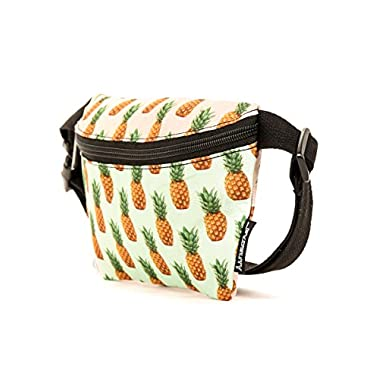 FYDELITY- Ultra-Slim Fanny Pack: PINEAPPLE | Cute, Funky, Fun, Festival Fashion Print with Gradient Yellow, Green, Blue Background