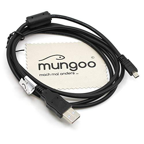 USB Datenkabel Daten Kabel für Pentax Optio K-50, K-500, K10D, K20D, E20, E30, E40, E50, E60, E75, E80, L20, L50, MX, P70, P80, S, S4, S40, T20, V10, W10, W20, W30, 50L, mit mungoo Displayputztuch