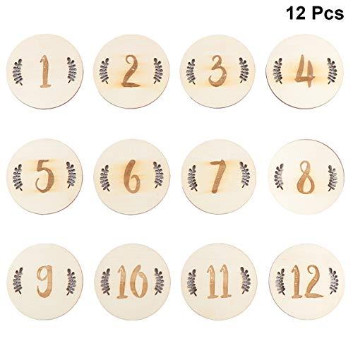 TOYANDONA 12 Stück Baby Monatskarten Holz Meilenstein Karten 1-12 Monate im Ersten Jahr Bauchkarte Fotografie Requisiten für Säugling Foto Andenken (Blätter Zahlen)