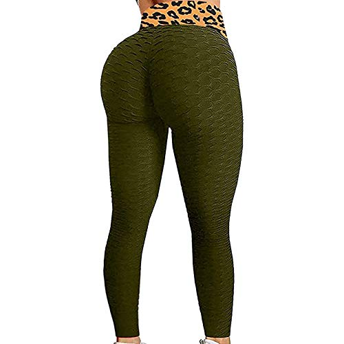 Kobay Sports Pants,Women's High Waist Yoga 7-Point Trousers Control Slimming Booty Leggings Running Butt Lift Tights,Green