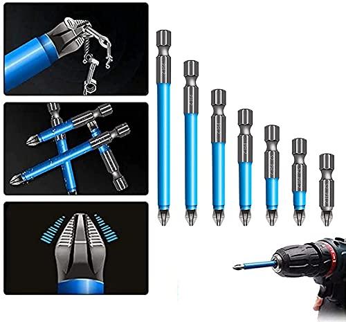 Juego de 7 brocas magnéticas antideslizantes PH2, juego de destornilladores eléctricos antideslizantes para carpintería (1 juego)
