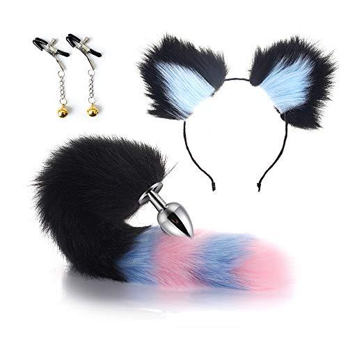 Lovely Cat Tail  Diadema  NpplClipsB-ttPl-gT--ysSet Disfraz de Halloween Cosplay Fiesta Negro Azul-34mm (M)
