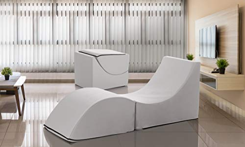 Talamo Italia pouf Clever, trasformabile in chaise longue, Ecopelle, 50x70x50 cm, Made in Italy, Bianco, Singolo