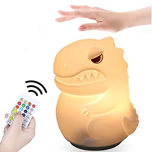 Anpro Luz de Noche Infantil Dinosaurio,Función de Sincronización del Cinturón de 16 Colores, con Sensor Táctil, Luz Nocturna Recargable Portátil, Regalos para Niños