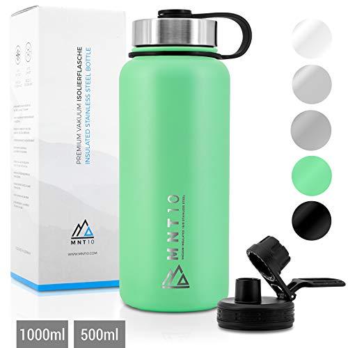 MNT10 Edelstahl Trinkflasche 1000ml I Premium Isolierflasche für Wandern, Fitness, Fahrrad, Schule und Büro I Wasserflasche + Gratis Sportdeckel (Mint Green | 1000ml)