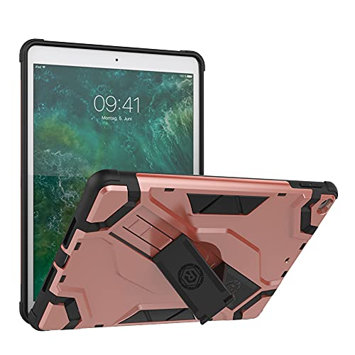 SENSBUN Funda para tablet iPad (9.7'') (2018) (6ª generación), resistente armadura suave TPU y cubierta de PC dura con correa antideslizante para la mano y soporte a prueba de golpes, oro rosa