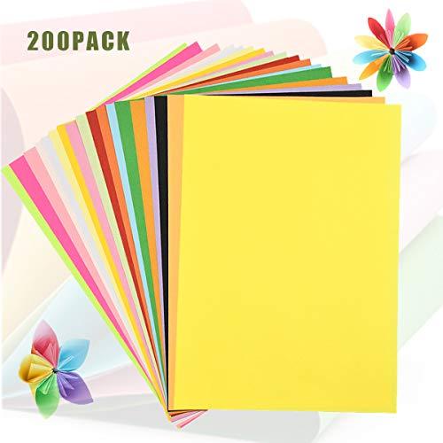 200 Blatt Buntpapier Farbigen, A4 Kopierpapier 80gsm, Tonpapier Pastell Bastelpapier Zuschnitt-Papier für Basteln, Farbiges Material, DIY-Bedarf, 20 Sortierte Farben