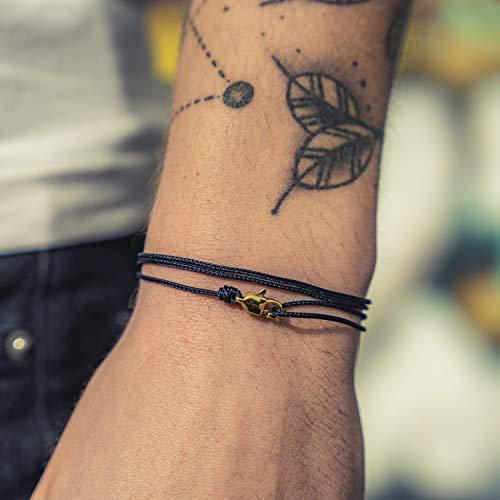 Dezentes Armband für Herren und Damen - edles Wickelarmband für Männer - Minimalistischer Schmuck - 100% wasserfest & stufenlos verstellbar - Karabiner-Haken Armband - Gold Dunkelblau