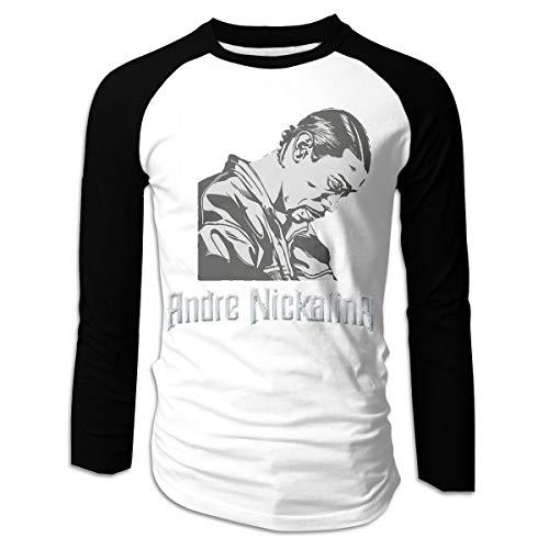 WillardSCox Men's Andre Nickatina Comfortable Casual Long Sleeve Baseball T-Shirts Black M