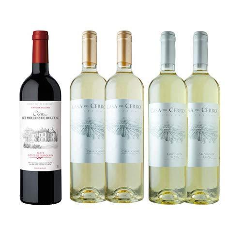 ワインショップソムリエ 金賞ボルドーと五大シャトー醸造家ワイン5本セット(赤ワイン1本・白ワイン4本)