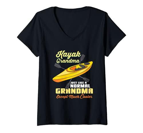 Femme Kayak Grand-mère Kayak T-Shirt avec Col en V