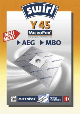 Swirl Y 45 MicroPor Staubsaugerbeutel Y45 - 5 Beutel + 1 Filter