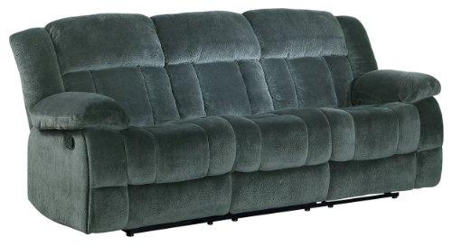Homelegance 9636CC-3 Laurelton Textured Plush Microfiber Motion Reclining Sofa, Gray