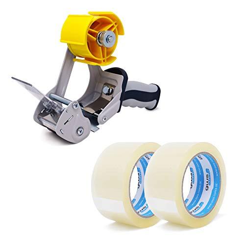 gws Abroller + 2 Rollen Paketklebeband PP geräuscharm abrollend | Packband und Abroller in Profi-Qualität | Länge: 66 m - Breite: 50 mm (2 Rollen farblos + Abroller)