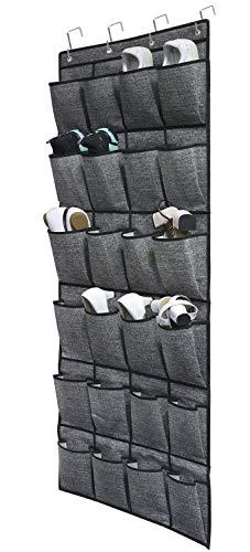 homyfort Organizzatore per Armadio da Porta con 24 Tasche - Organizzatore Scarpette, Portaoggetti in Stoffa da Appendere, Stoccaggio Raccolta Scarpe, Organizzatore Borsa, Nero, XAODSB1P