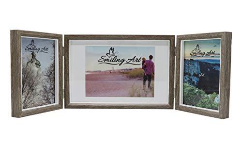 Smiling Art klappbarer Bilderrahmen für 3 Fotos in Querformat und Hochformat (Grau, 2x13x18 cm + 1x15x20 cm)