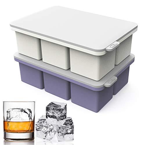 大型アイスキューブトレイ シリコーン製 蓋付き 2個パック アイストレイ型 12個 ジャイアントアイスキューブメーカー ウイスキーを冷やす 簡単リリース 再利用可能な型メーカー ワイン/カクテル/飲料/ジュース/スープ/ベビーフード用