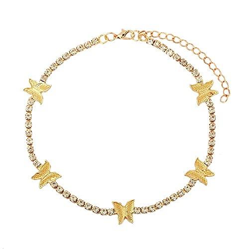Brazalete De Tobillo Ladies Shiny Rhinestone Cadena De Tenis Anklet Butterfly Crystal Toblet Brazalet Peach Jewelry-Y