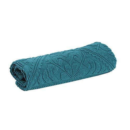 Vivaraise - Tapis de Bain Enzo – Tissu éponge 100% Coton, Doux et Absorbant – Motif Jacquard élégant – Couleur Unie Bleu Peacock