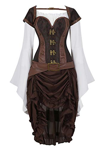 Grebrafan Steampunk Corsage Korsage Damen mit Pirat Spitzenrock und Bluse (EUR(32-34) S, Braun)