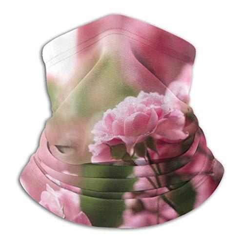 ASDAH Warme hals Gamasche gezichtsmasker bivakmuts roos thee bloemen roze druppels Bush natuur bokeh