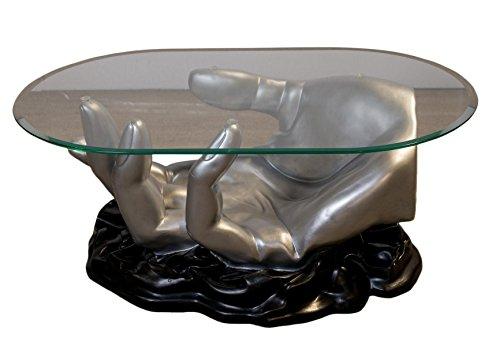 Antikes Wohndesign Ovaler Couchtisch Wohnzimmertisch Glastisch Modell Hand Silber Schwarz
