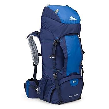 High Sierra Explorer 55L Top Load Internal Frame Backpack Pack, High-Performance Pack for Backpacking, Hiking, Camping, True Navy/Royal/True Navy
