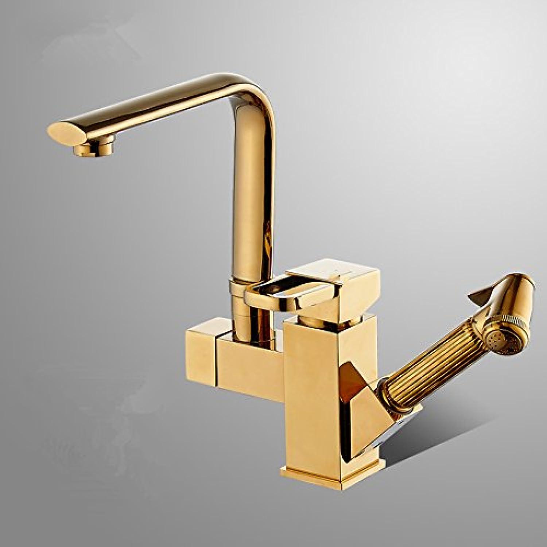 Bijjaladeva Wasserhahn Bad Wasserfall Mischbatterie Waschbecken Waschtisch Armatur für Alle Kupfer Pull-Down Küche Wasserhahn Becken rotierende heie und Kalte Teleskop Gold