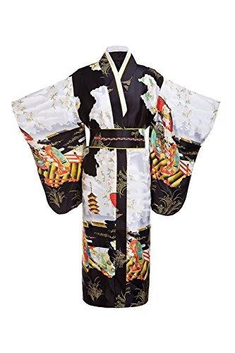 THY COLLECTIBLES Women's Silk Traditional Japanese Kimono Robe / Bathrobe / Party Robe (Black)