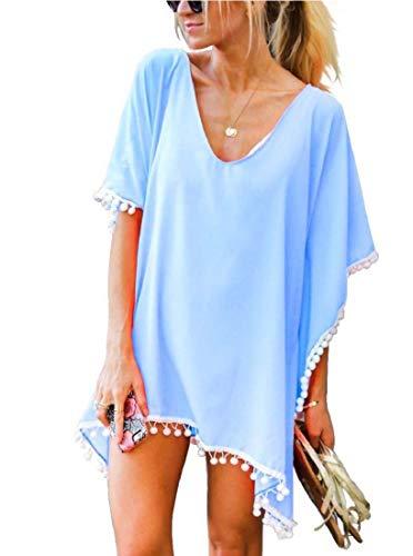 heekpek Mujer Borla Trajes de Baño Gasa Ropa de Playa Beach Bikini Cover up Camisolas y Pareos Plus Size Falda de Playa de Bikini de Traje de Baño de Verano Vestidos Mujer
