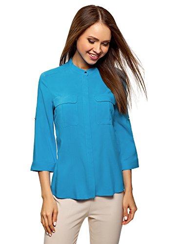 Preisvergleich Produktbild oodji Ultra Damen Viskose-Bluse mit Verstellbaren Ärmeln,  Türkis,  DE 32 / EU 34 / XXS