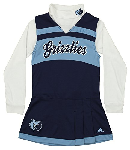 Outerstuff NBA Youth Girls Memphis Grizzlies Cheer Jumper Dress with Turtleneck, Blue X-Large (16)
