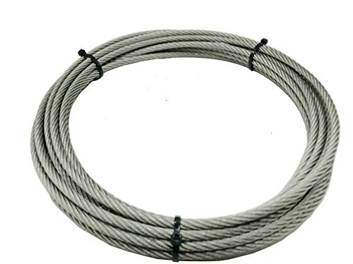 Yountiger 1/4'' (6mm) 304 Stainless Steel Aircraft Wire Rope Military Specification, Lubricated, Car Traction,Lifting Rope Strong Wire Rope 7x19 Strand Core,26.3 Feet 6000 Pound Breaking Strength