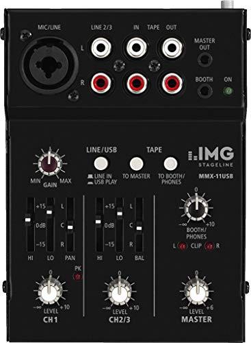 IMG STAGELINE MMX-11USB 2-Kanal Audio-Miniatur-Mischpult mit 3 Eingängen und USB-Schnittstelle schwarz