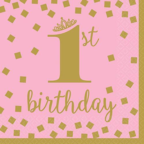 Amscan 511861 16 Servietten 1st Birthday Mädchen, Papier, Pink/Gold