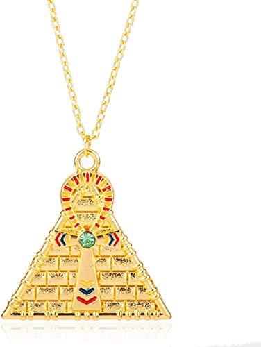 NC122 Hombres Hip Hop Oro pirámide egipcia Cruz símbolo de la Vida Colgante Collar Estilo religioso Collar