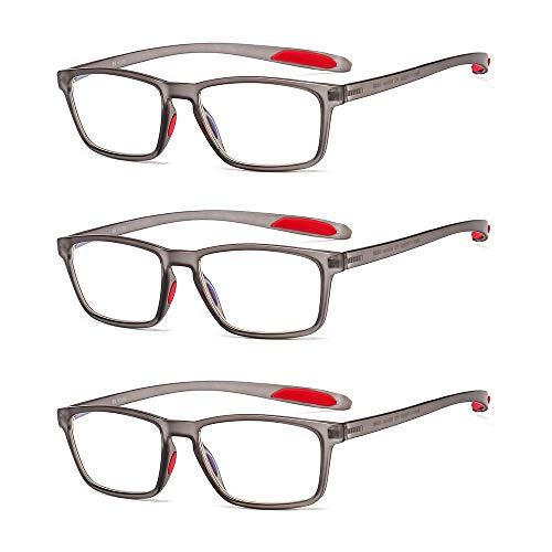 Suertree 3 Pack Blaulichtfilter Lesebrille Computerbrille TR90 Rahmenleser PC Gaming UV Blue Light Blocking Glasses Damen Herren
