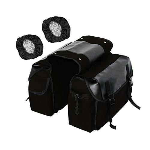 Bolsa doble sillín de bicicleta de lona impermeable, bolsas de almacenamiento rejilla trasera de bicicleta con cubierta lluvia/gran capacidad,para bicicleta de montaña y carretera ( Color : Negro )