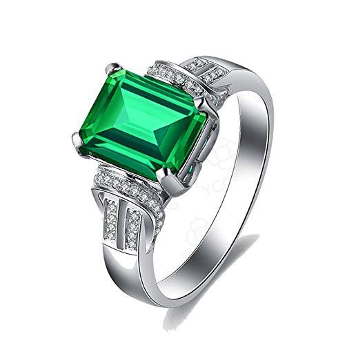 KnSam Bague Femme Fine Émeraude*2.22ct Vert Diamant, Or Blanc 18 carats Élégant Personnalisé