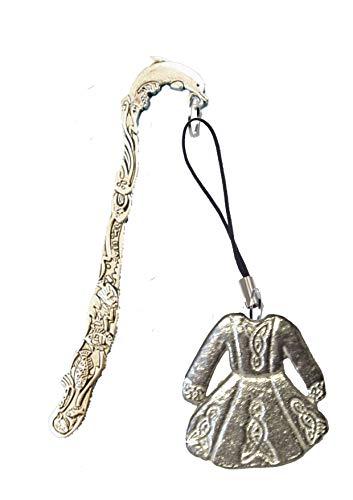 Derbyshire UK FT64 - Vestito per danza celtica, 3 x 3 cm, realizzato in peltro inglese su un segnalibro a forma di pappagallo